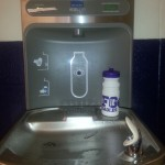Our shiny new water bottle filling station and drinking fountain are installed and already having a big impact!