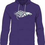 Flames art work on a purple Hoodie.  Also available in a black Hoodie.