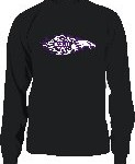 Long sleeve tee with flames art work.  Also available in purple tee.