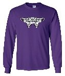 Long sleeve purple tee with wings design.  Also available in black.